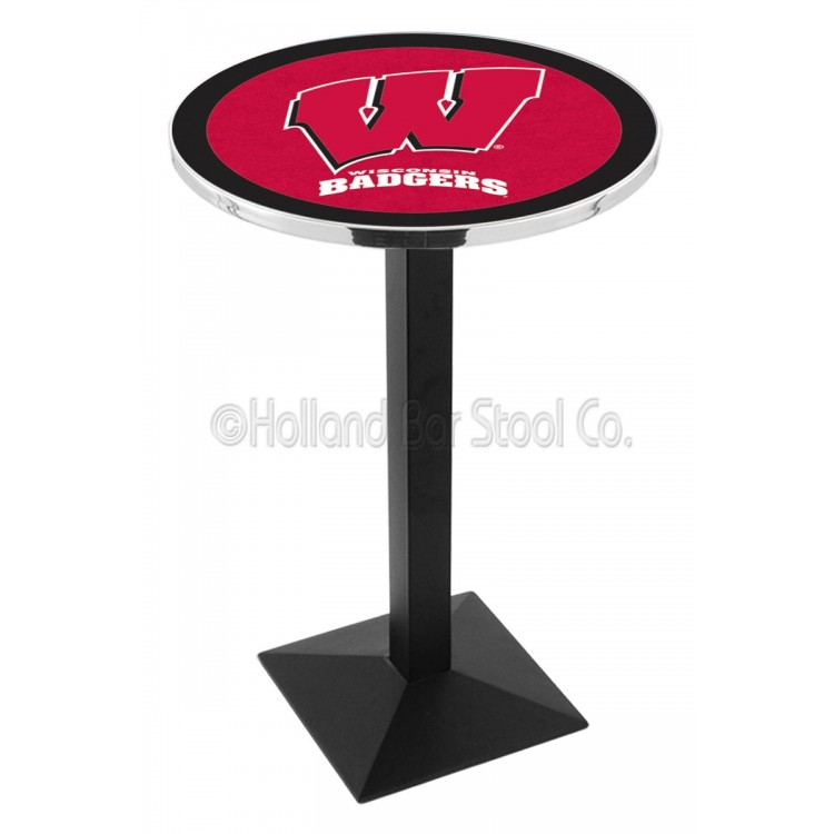 "Wisconsin Badgers 42"" L217 Black Wrinkle Pub Table"