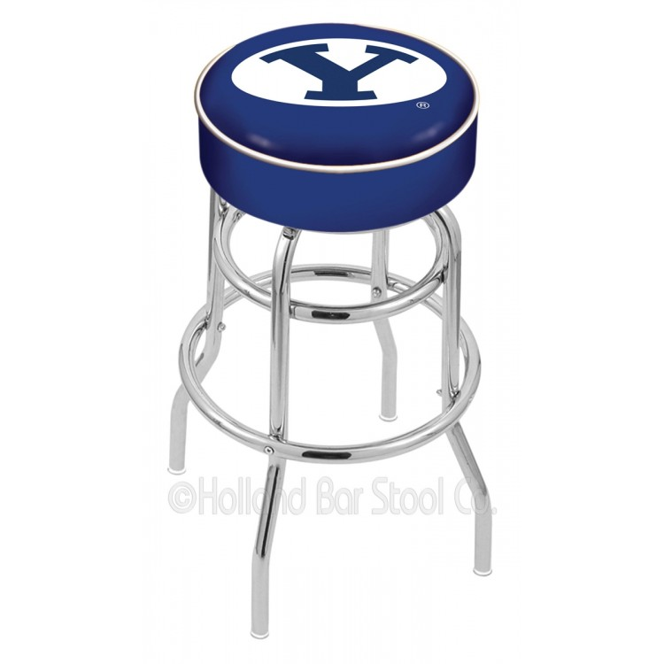 """Brigham Young Cougars 25"""" Cushioned Double-Ring Chrome Bar Stool"""