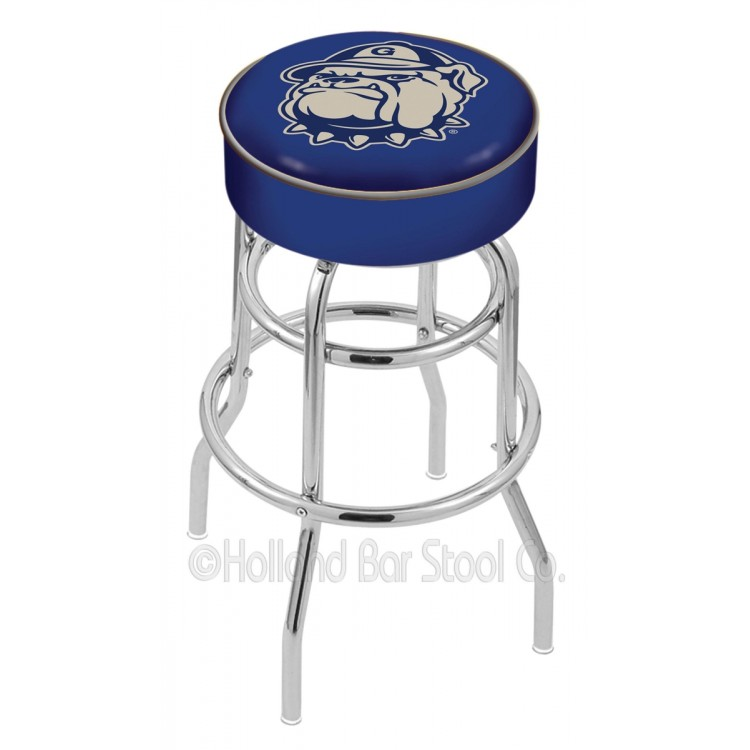 """Georgetown Hoyas 25"""" Cushioned Double-Ring Chrome Bar Stool"""