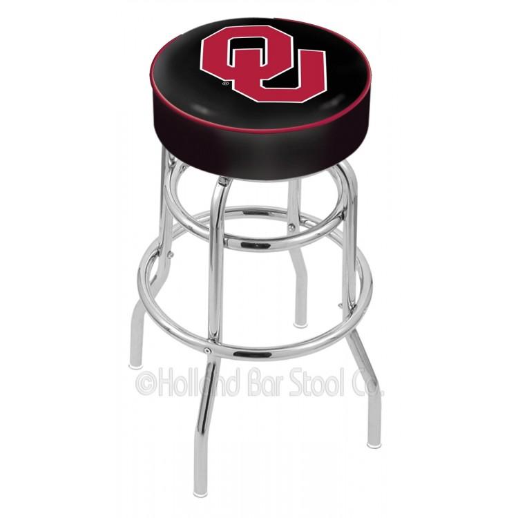 "Oklahoma Sooners 25"" Cushioned Double-Ring Chrome Bar Stool"