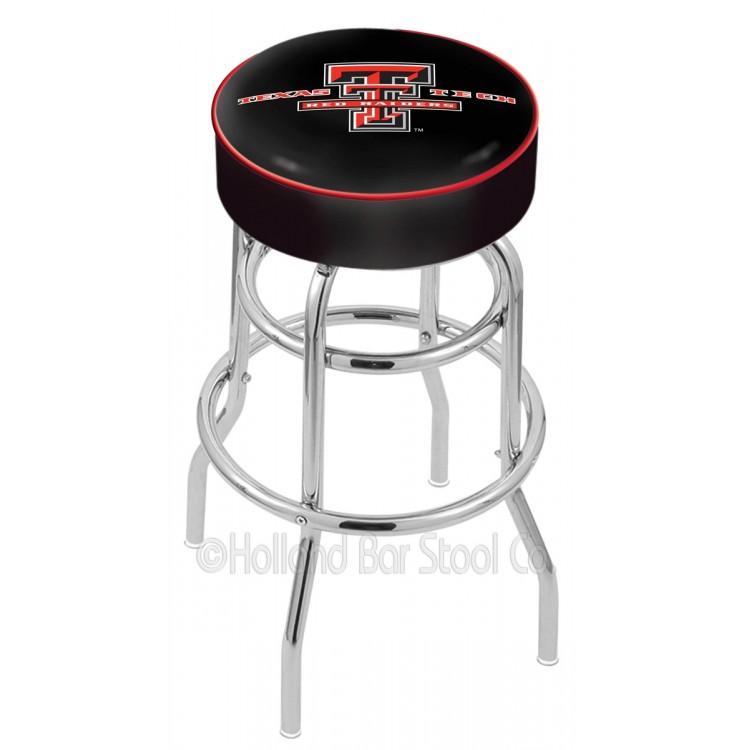 "Texas Tech Red Raiders 25"" Cushioned Double-Ring Chrome Bar Stool"