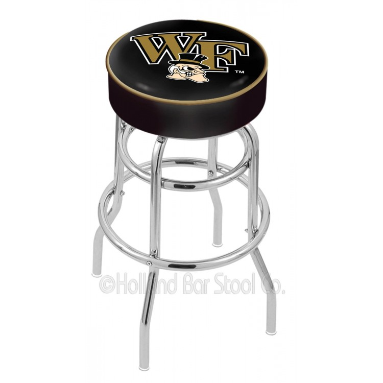 "Wake Forest Demon Deacons 25"" Cushioned Double-Ring Chrome Bar Stool"