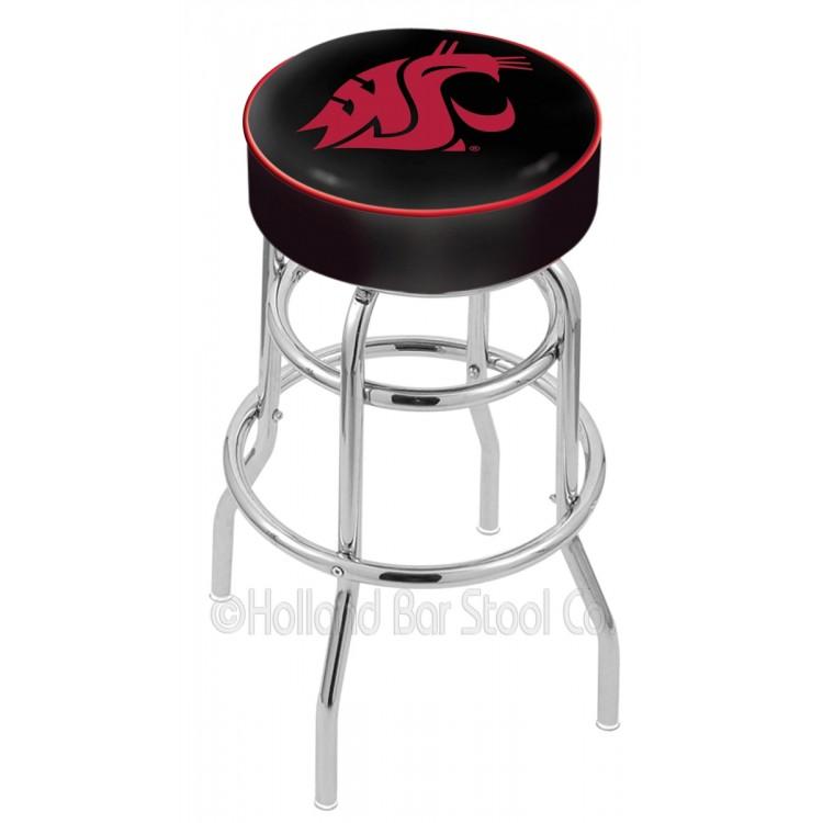 """Washington State Cougars 25"""" Cushioned Double-Ring Chrome Bar Stool"""