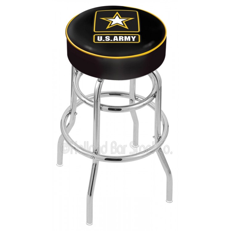 "U.S. Army 30"" Cushioned Double-Ring Chrome Bar Stool"