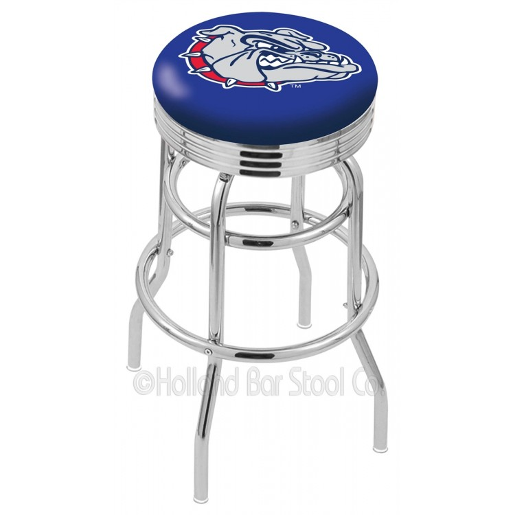 "Gonzaga Bulldogs 25"" Chrome Double Ring Swivel Bar Stool with 2.5"" Ribbed Accent Ring"