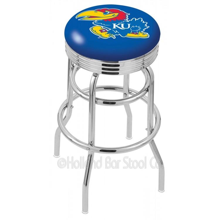 "Kansas Jayhawks 25"" Chrome Double Ring Swivel Bar Stool with 2.5"" Ribbed Accent Ring"