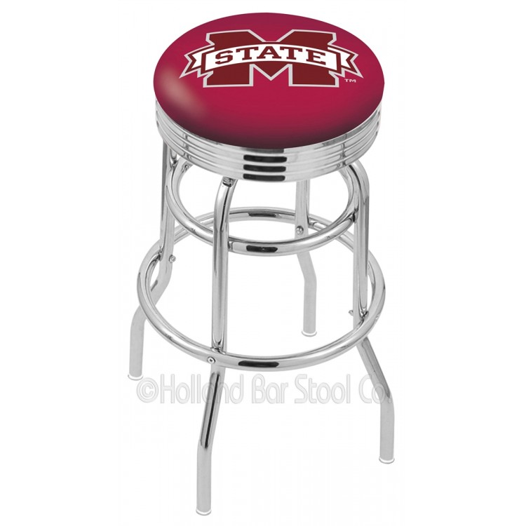 "Mississippi State Bulldogs 25"" Chrome Double Ring Swivel Bar Stool with 2.5"" Ribbed Accent Ring"