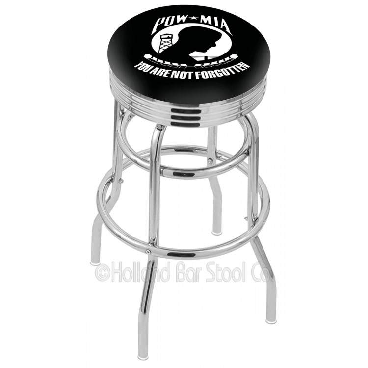 """POW/MIA 25"""" Chrome Double Ring Swivel Bar Stool with 2.5"""" Ribbed Accent Ring"""