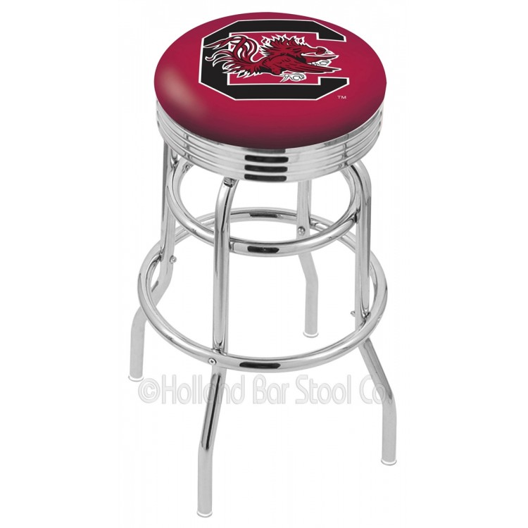 """South Carolina Gamecocks 25"""" Chrome Double Ring Swivel Bar Stool with 2.5"""" Ribbed Accent Ring"""