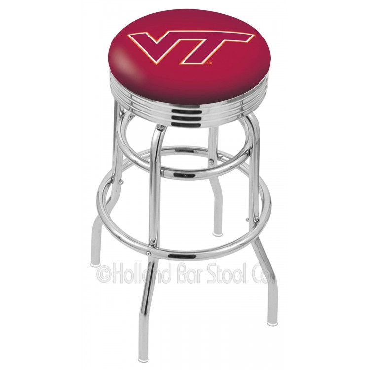 "Virginia Tech Hokies 25"" Chrome Double Ring Swivel Bar Stool with 2.5"" Ribbed Accent Ring"