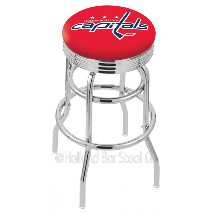 "Washington Capitals 25"" Chrome Double Ring Swivel Bar Stool with 2.5"" Ribbed Accent Ring"