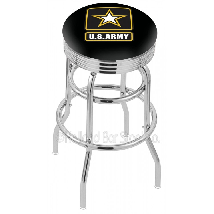 "U.S. Army 30"" Chrome Double Ring Swivel Bar Stool with 2.5"" Ribbed Accent Ring"