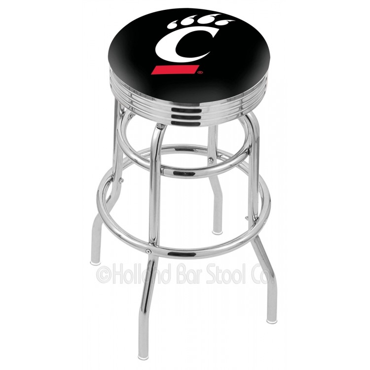 "Cincinnati Bearcats 30"" Chrome Double Ring Swivel Bar Stool with 2.5"" Ribbed Accent Ring"