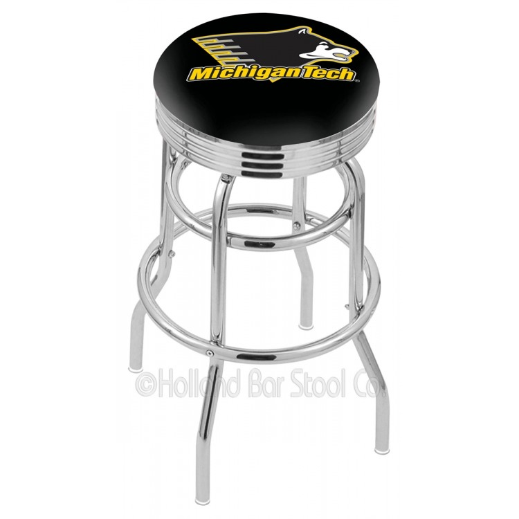 """Michigan Tech Huskies 30"""" Chrome Double Ring Swivel Bar Stool with 2.5"""" Ribbed Accent Ring"""