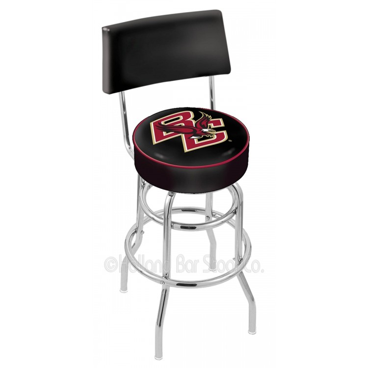 """Boston College Eagles 25"""" Chrome Double Ring Swivel Bar Stool with a Back"""