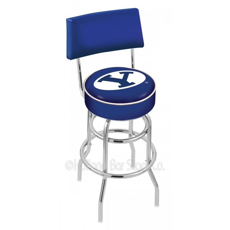 "Brigham Young Cougars 25"" Chrome Double Ring Swivel Bar Stool with a Back"