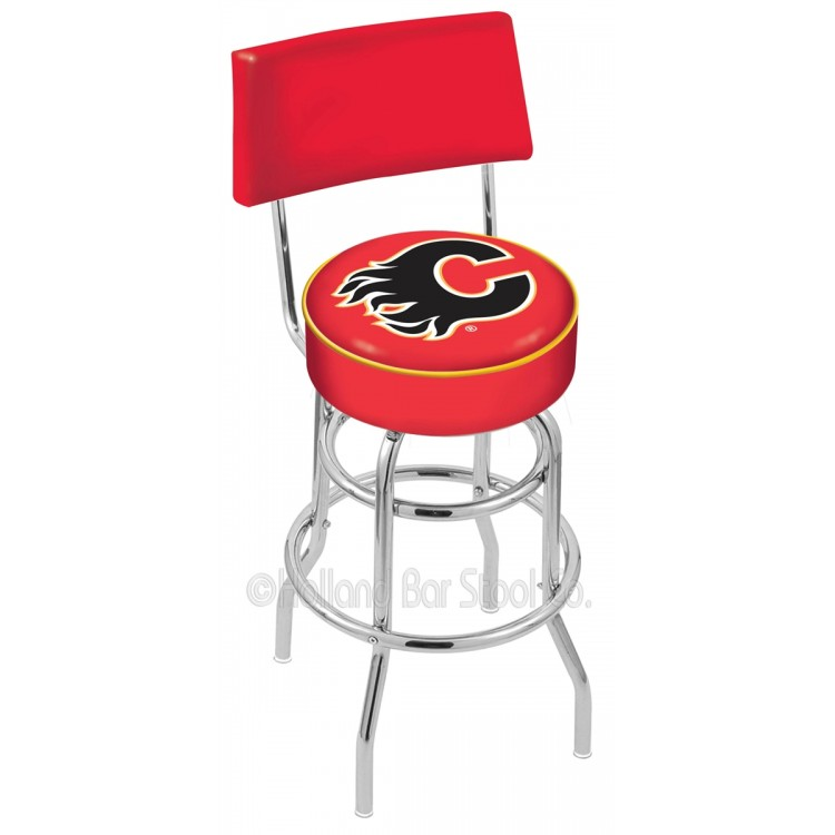 """Calgary Flames 25"""" Chrome Double Ring Swivel Bar Stool with a Back"""