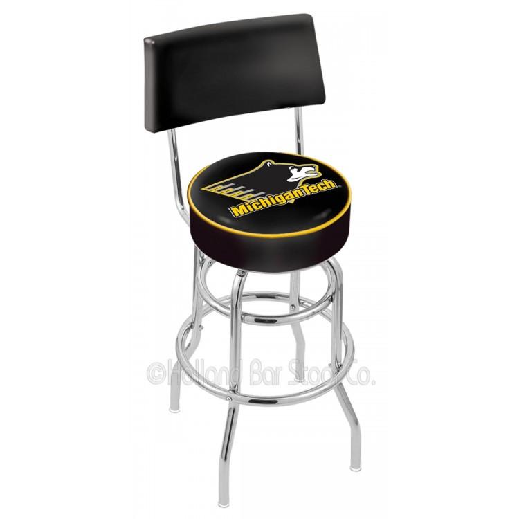 "Michigan Tech Huskies 25"" Chrome Double Ring Swivel Bar Stool with a Back"