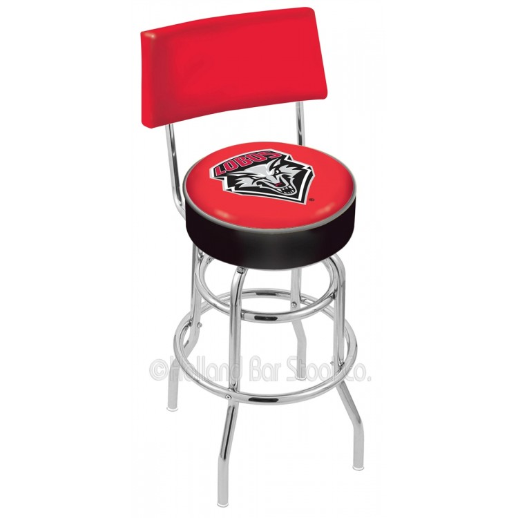 """New Mexico Lobos 25"""" Chrome Double Ring Swivel Bar Stool with a Back"""