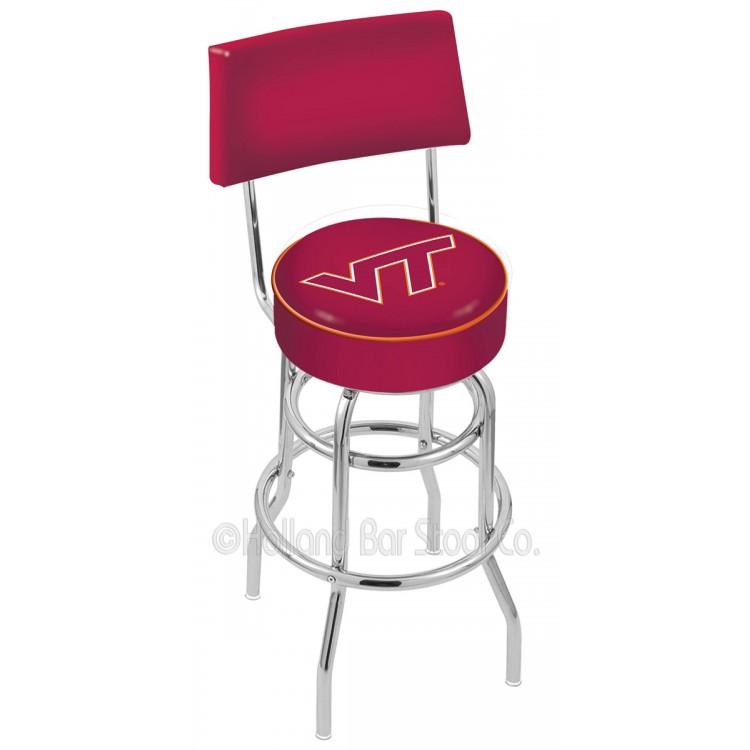 "Virginia Tech Hokies 25"" Chrome Double Ring Swivel Bar Stool with a Back"