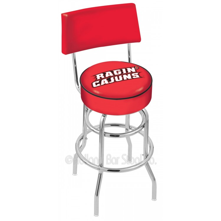 "Louisiana-Lafayette Ragin Cajuns 30"" Chrome Double Ring Swivel Bar Stool with a Back"