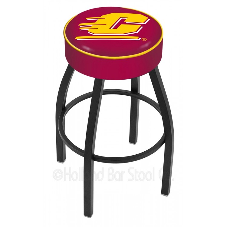 """Central Michigan Chippewas 25"""" 4"""" Cushion Seat with Black Wrinkle Base Swivel Bar Stool"""