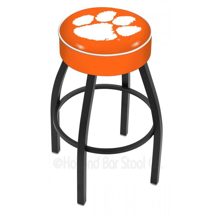 "Clemson Tigers 25"" 4"" Cushion Seat with Black Wrinkle Base Swivel Bar Stool"