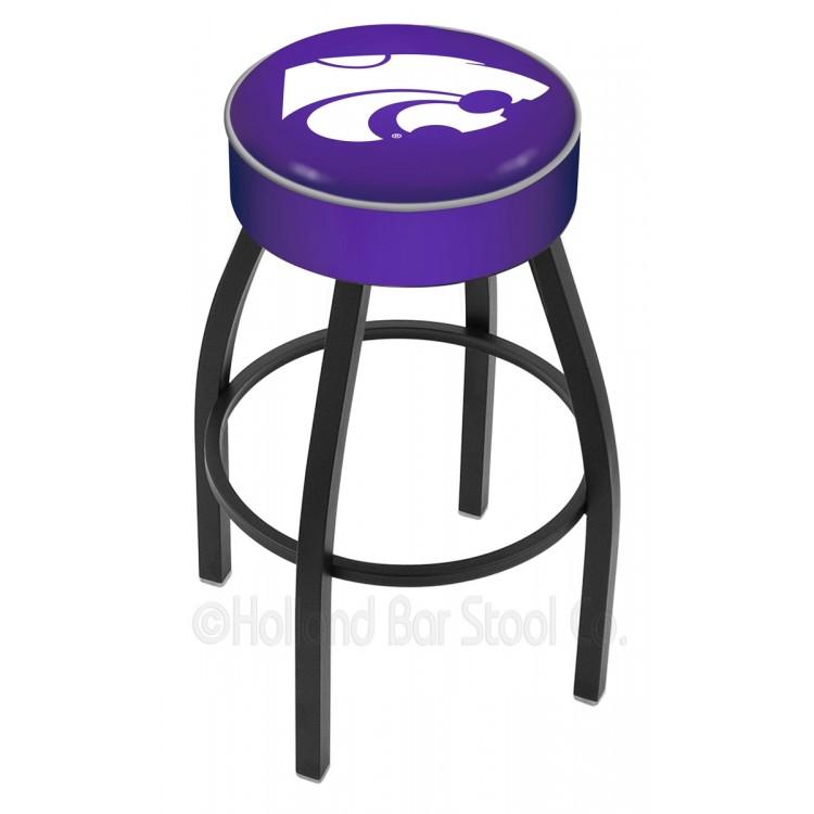 "Kansas State Wildcats 25"" 4"" Cushion Seat with Black Wrinkle Base Swivel Bar Stool"