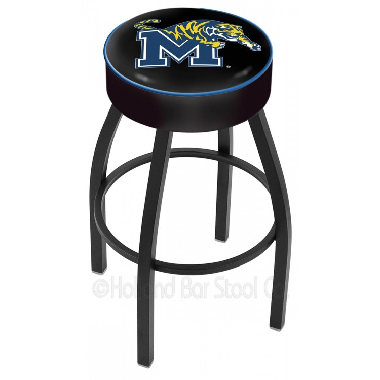 "Memphis Tigers 25"" 4"" Cushion Seat with Black Wrinkle Base Swivel Bar Stool"