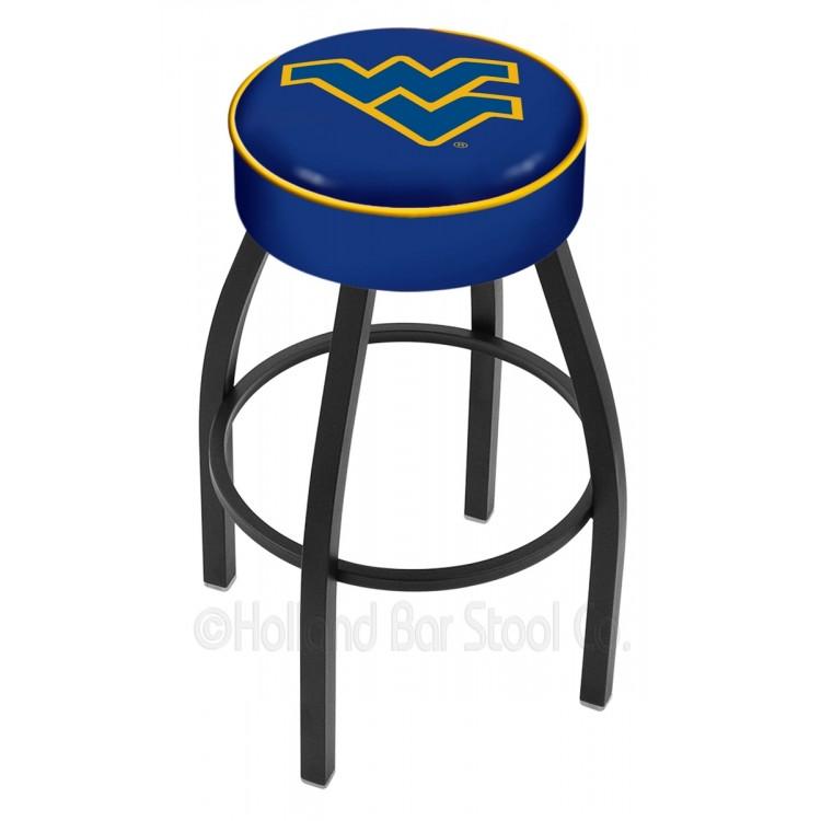 "West Virginia Mountaineers 25"" 4"" Cushion Seat with Black Wrinkle Base Swivel Bar Stool"