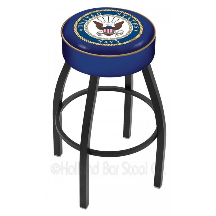"""U.S. Navy 30"""" 4"""" Cushion Seat with Black Wrinkle Base Swivel Bar Stool"""