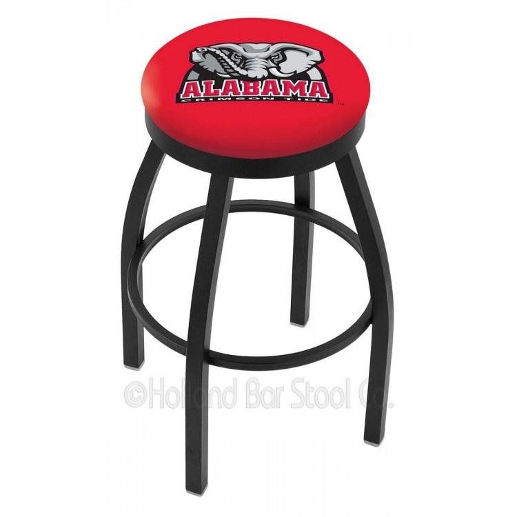 "Alabama Crimson Tide 25"" Black Wrinkle Swivel Bar Stool with Accent Ring"
