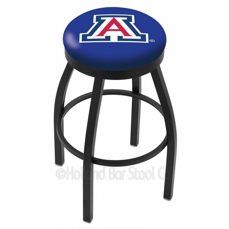 "Arizona Wildcats 30"" Black Wrinkle Swivel Bar Stool with Accent Ring"