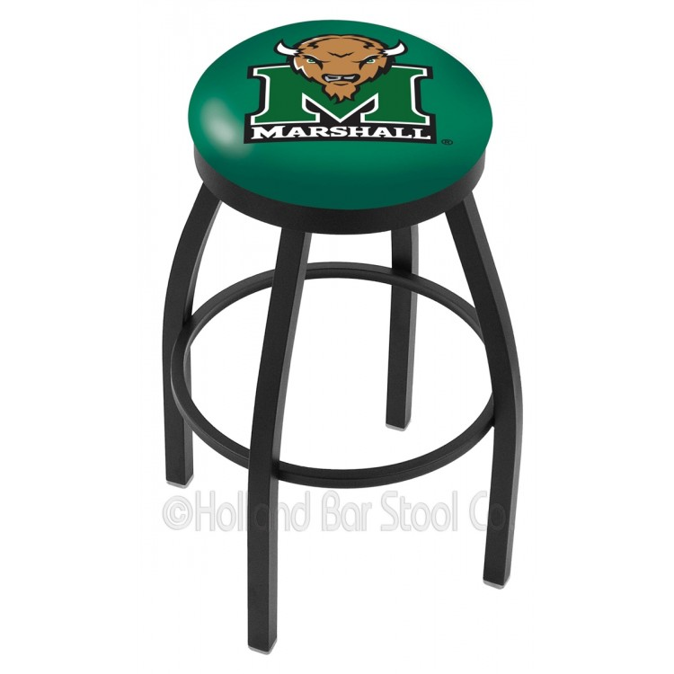 "Marshall Herd 30"" Black Wrinkle Swivel Bar Stool with Accent Ring"