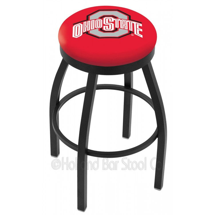 "Ohio State Buckeyes 30"" Black Wrinkle Swivel Bar Stool with Accent Ring"