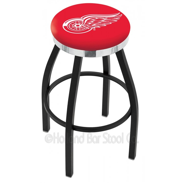 """Detroit Red Wings 25"""" Black Wrinkle Swivel Bar Stool with Chrome Accent Ring"""