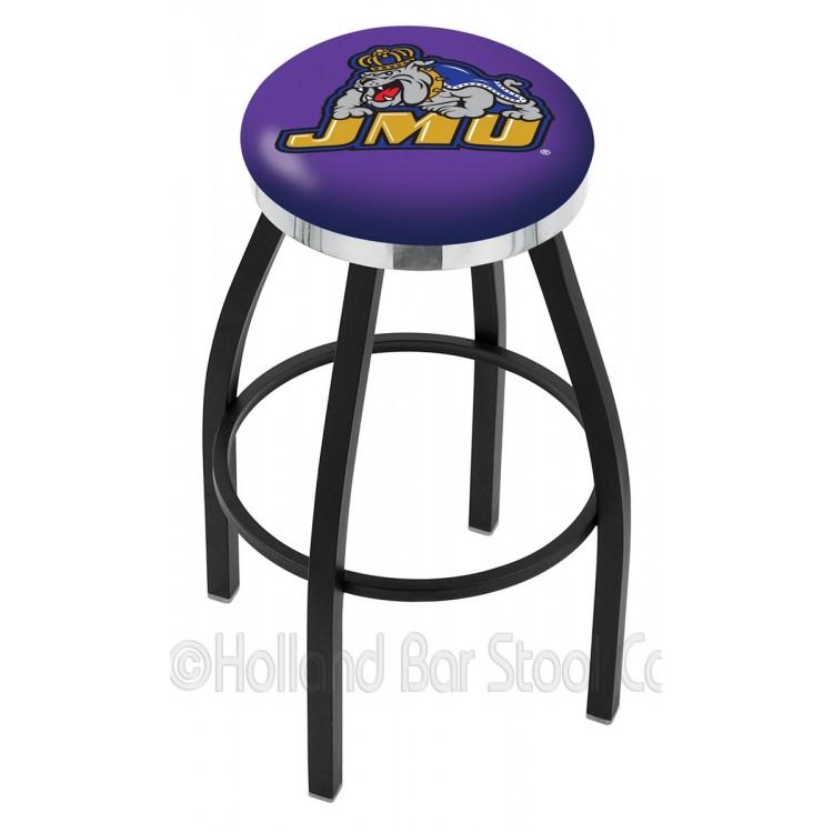 "James Madison Dukes 25"" Black Wrinkle Swivel Bar Stool with Chrome Accent Ring"