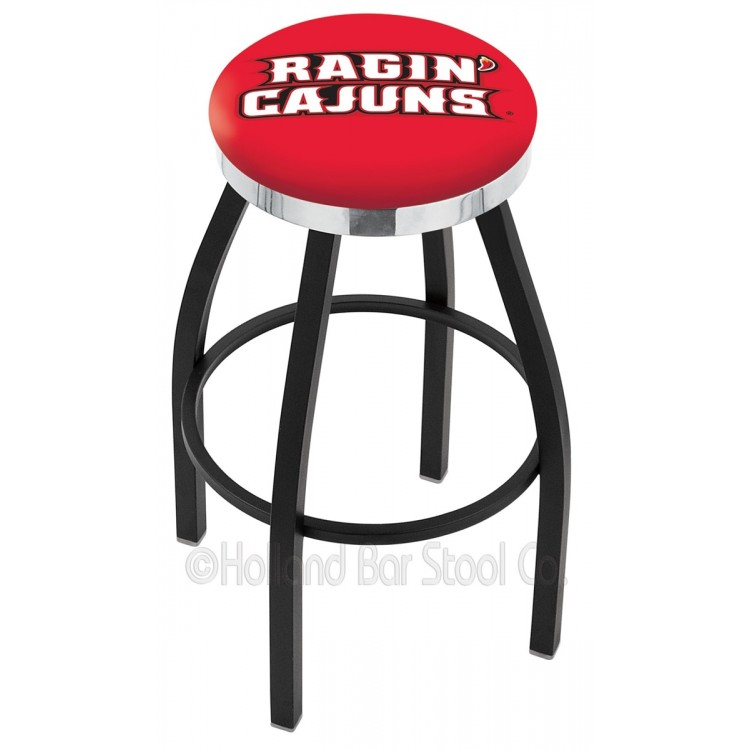 "Louisiana-Lafayette Ragin Cajuns 25"" Black Wrinkle Swivel Bar Stool with Chrome Accent Ring"