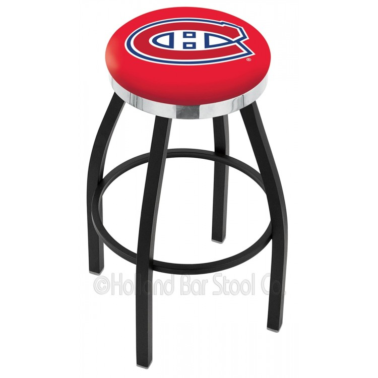 """Montreal Canadiens 25"""" Black Wrinkle Swivel Bar Stool with Chrome Accent Ring"""