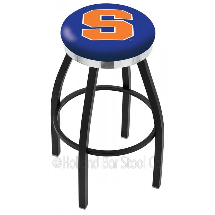 "Syracuse Orange 25"" Black Wrinkle Swivel Bar Stool with Chrome Accent Ring"
