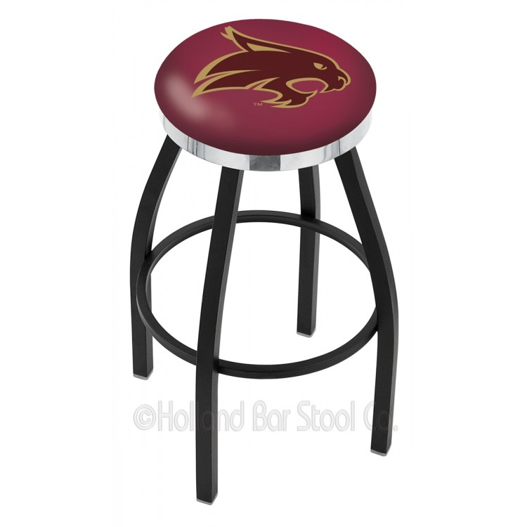 """Texas State Bobcats 25"""" Black Wrinkle Swivel Bar Stool with Chrome Accent Ring"""