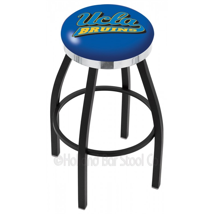 "UCLA Bruins 25"" Black Wrinkle Swivel Bar Stool with Chrome Accent Ring"
