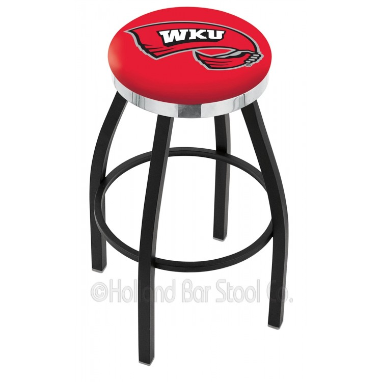 """Western Kentucky Hilltoppers 25"""" Black Wrinkle Swivel Bar Stool with Chrome Accent Ring"""