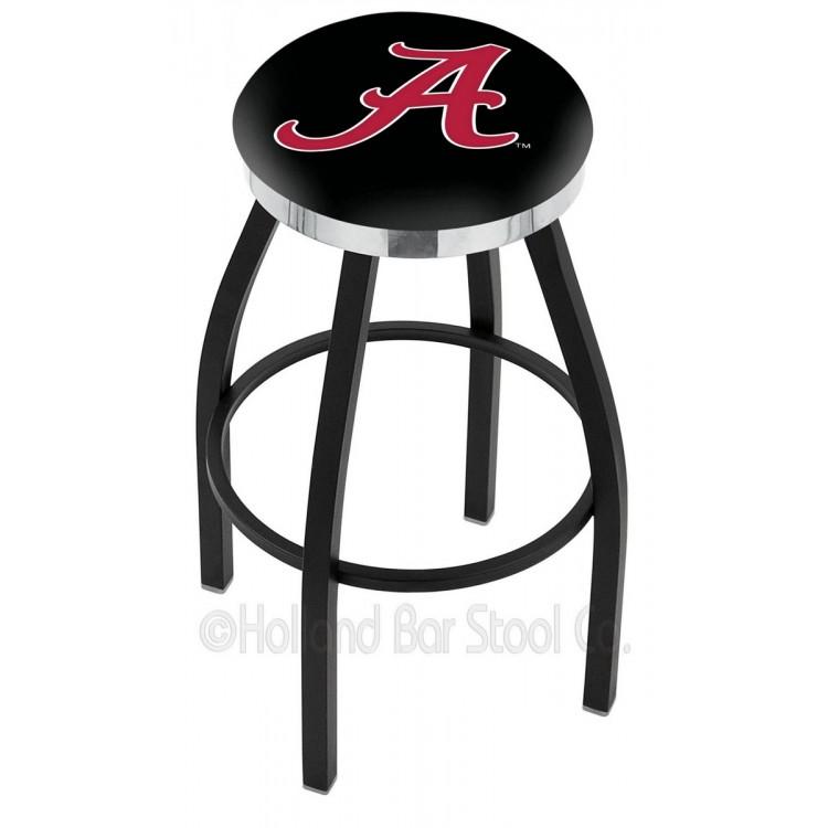 "Alabama Crimson Tide 30"" Black Wrinkle Swivel Bar Stool with Chrome Accent Ring"