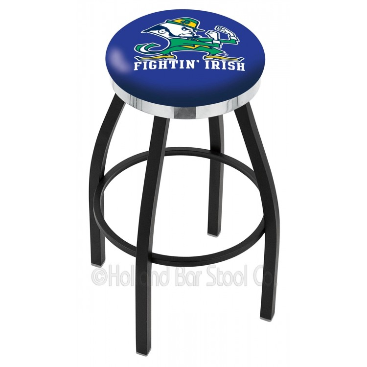 """Notre Dame Irish 30"""" Black Wrinkle Swivel Bar Stool with Chrome Accent Ring"""