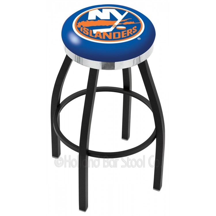 "New York Islanders 30"" Black Wrinkle Swivel Bar Stool with Chrome Accent Ring"