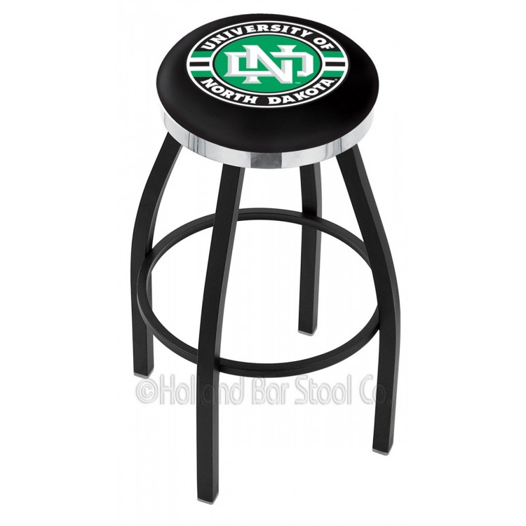 "North Dakota Sioux 30"" Black Wrinkle Swivel Bar Stool with Chrome Accent Ring"