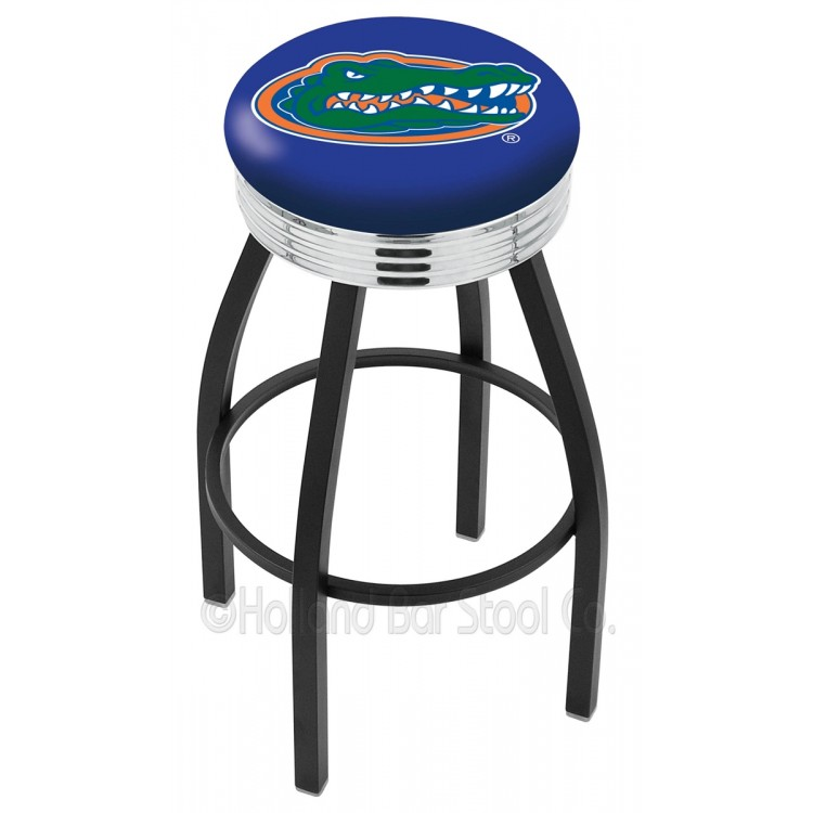 "Florida Gators 25"" Black Wrinkle Swivel Bar Stool with Chrome 2.5"" Ribbed Accent Ring"