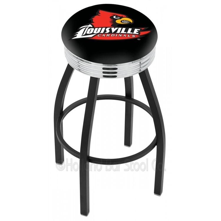 """Louisville Cardinals 25"""" Black Wrinkle Swivel Bar Stool with Chrome 2.5"""" Ribbed Accent Ring"""