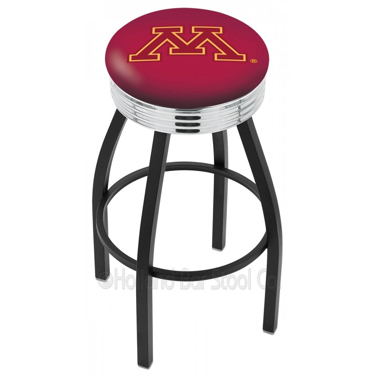 """Minnesota Gophers 25"""" Black Wrinkle Swivel Bar Stool with Chrome 2.5"""" Ribbed Accent Ring"""